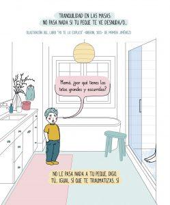 Un peque en el baño, al ver a su madre en la ducha, le pregunta, tranquilo, por qué tiene las tetas tan grandes y caídas...