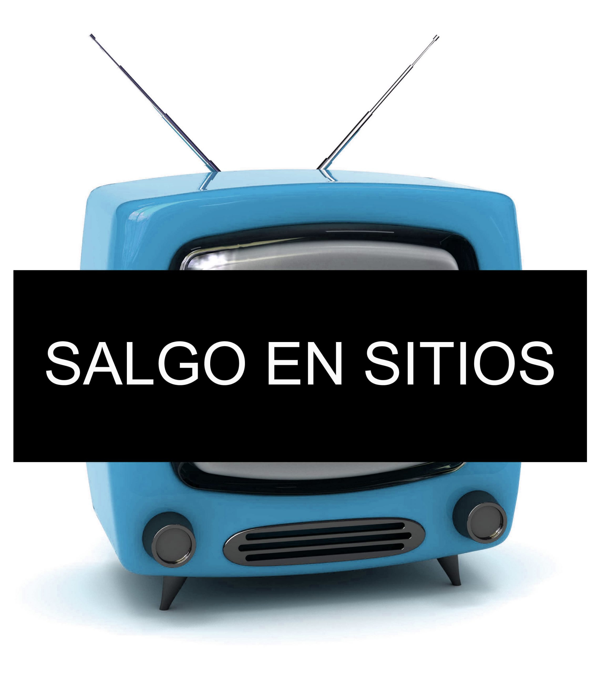 """Una televisión retro en la que sale un cartel que dice """"salgo en sitios"""""""